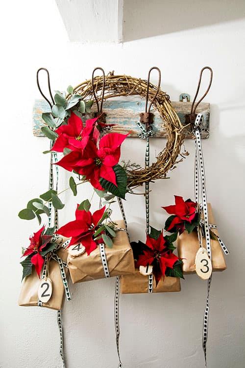 Decoracion Navidad flor de Pascua (poinsettia) regalos