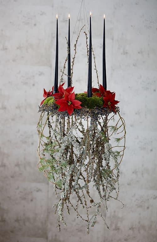 Decoracion Navidad flor de Pascua (poinsettia) corona colgante